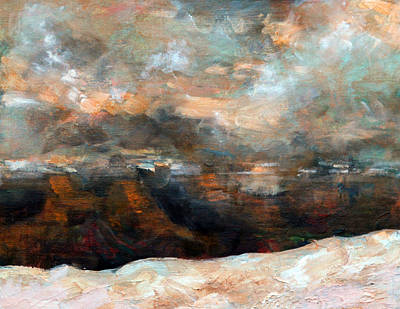 Mixed Media - Winter Sunset Over The Canyon by Walter Fahmy
