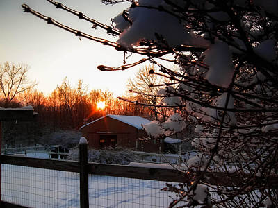 Photograph - Winter Sunset Over The Horse Barn by Haren Images- Kriss Haren
