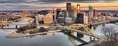 Winter Sunset Over The Pittsburgh Skyline Art Print by Adam Jewell