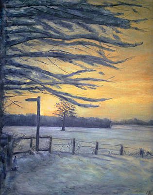 Christmas Eve Painting - Winter Sunset - Peak District by Ronald Haber