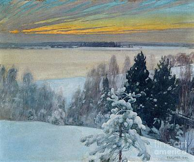 Pekka Wall Art - Painting - Winter Sunset by Celestial Images