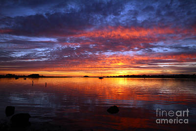 Photograph - Winter Sunset Rumstick Point by Butch Lombardi