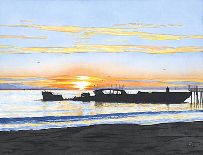 Mars Black Painting - Winter Sunset Seacliff by Kerry Van Stockum