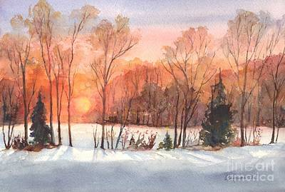 Warm Colors Painting - A Hedgerow Sunset by Carol Wisniewski