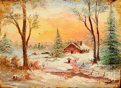 Winter Sunset Art Print by Sorin Apostolescu