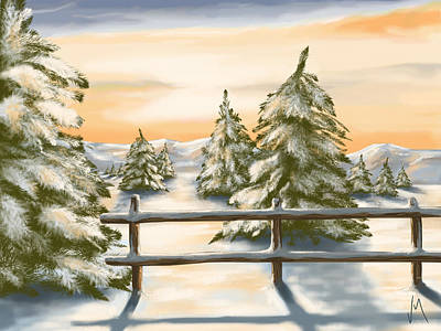 Snowy Trees Painting - Winter Sunset by Veronica Minozzi