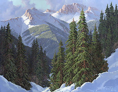 Snow Scene Painting - Winter Sunshine by Randy Follis
