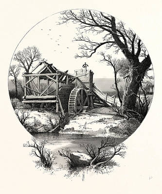 Winter. The Trees Stand Shivering In The Frosty Air Art Print by English School