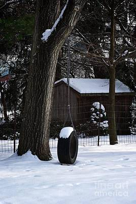 Frank J Casella Royalty-Free and Rights-Managed Images - Winter Tire Swing by Frank J Casella