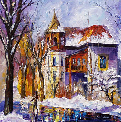 Winter Town - Palette Knife Oil Painting On Canvas By Leonid Afremov Original