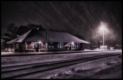 Winter Train Station  Art Print