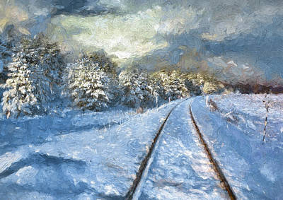 Digital Art - Winter Train Track by Yury Malkov