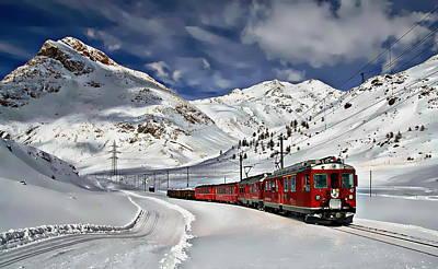 Winter Train Travel Art Print by Anthony Dezenzio