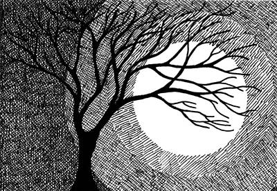 Winter Tree And Moon Drawing By Marta Harvey