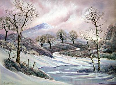 Snowscape Painting - Winter Trees by Artist Karen Barton