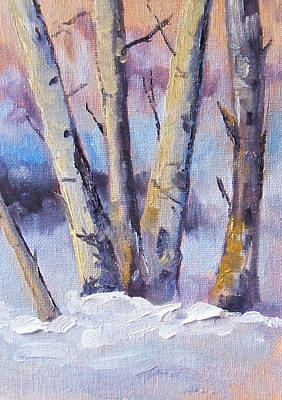 Slushy Painting - Winter Trees by Nancy Merkle