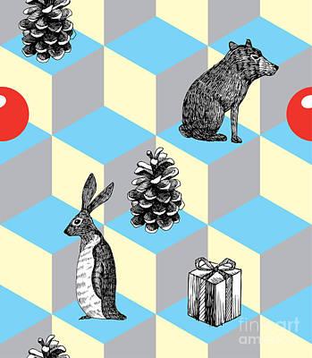 Rabbit Digital Art - Winter Trendy Seamless Background by Berry2046