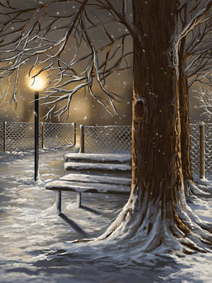 Park Scene Painting - Winter Trilogy 1 by Veronica Minozzi