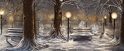 Park Scene Painting - Winter Trilogy Collage by Veronica Minozzi