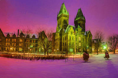 Photograph - Winter Twilight At Buffalo Psych Center N2 by Chris Bordeleau
