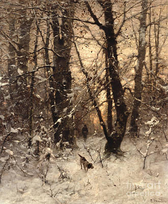 Snowfall Painting - Winter Twilight by Ludwig Munthe