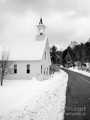 Barn Red Photograph - Winter Vermont Church by Edward Fielding