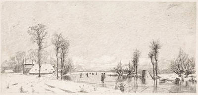 Stark Drawing - Winter View At Vrouwenakker, Elias Stark by Elias Stark