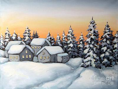 Painting - Winter Village by Inese Poga