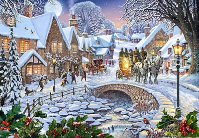 Horse And Carriage Painting - Winter Village Stream by Steve Crisp