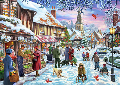 Snowball Fights Painting - Winter Village Usa by Steve Crisp