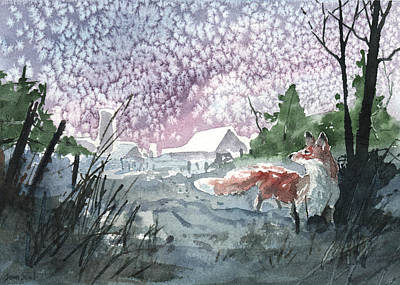 Print featuring the painting Winter Visitor by Sean Seal