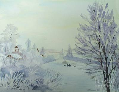 Shed Painting - Winter Visitors by Martin Howard