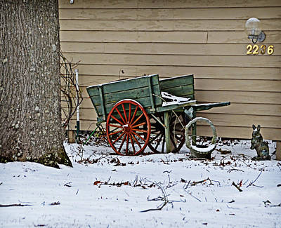 Photograph - Green Pushcart In Snow by Linda Brown