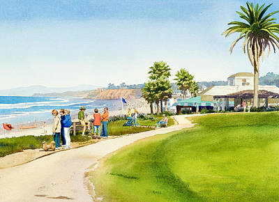 Visitors Painting - Winter Walk Del Mar by Mary Helmreich