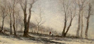 Wall Art - Painting - Winter Walk by Jim Gola