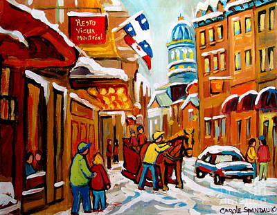 Streetscenes Painting - Winter Walk Montreal by Carole Spandau
