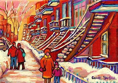 Staircase Painting - Winter Walk On The Avenues Sunset Near Spiral Staircases Montreal City Scene Painting Carole Spandau by Carole Spandau