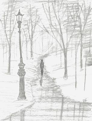 Street Lamps Drawing - Winter Walk by Ray Ratzlaff