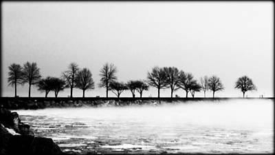 Dreamy Pink Park Scene Photograph - Winter Waterfront by Victoria Fischer
