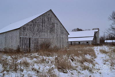 Indiana Photograph - Winter Weathered Barns by Amy Lucid