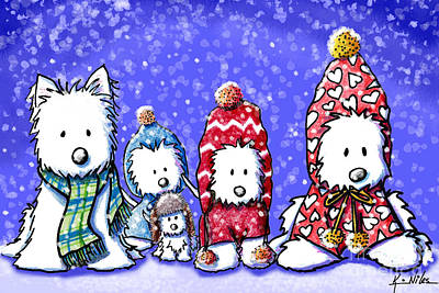 Kiniart Digital Art - Winter Westies by Kim Niles