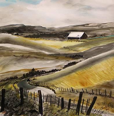 Winter Roads Drawing - Winter Wheat by John Williams