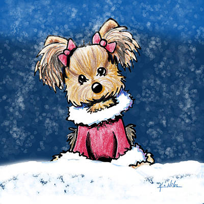Terrier Mixed Media - Winter Whimsy Yorkie Terrier by Kim Niles