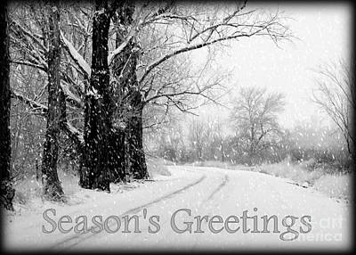 Snowy Roads Photograph - Winter White Season's Greeting Card by Carol Groenen