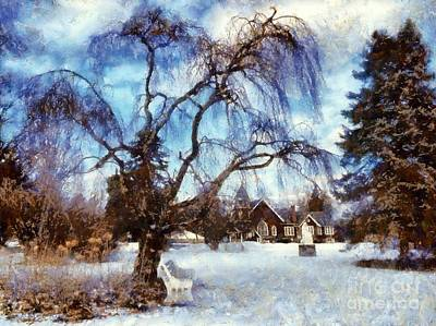 Photograph - Winter Willow In Mountainhome - Church by Janine Riley