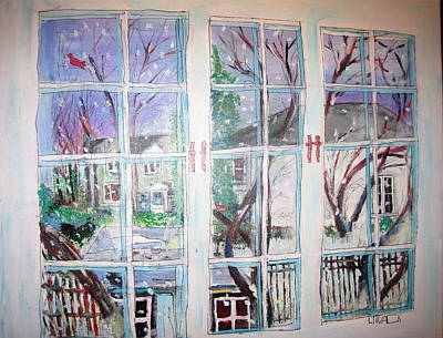 Winter Scene. Urban Back Yards Painting - Winter Window by Michael Litvack