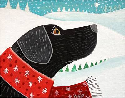 Dog In Snow Digital Art - Winter Wish by Wendy Presseisen