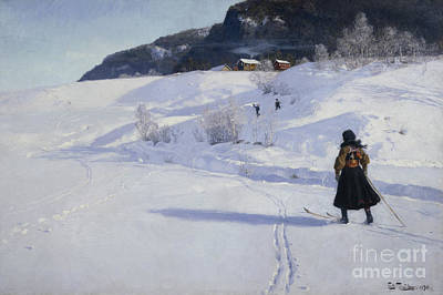 Winter With Skier Art Print