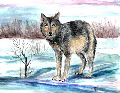 Painting - Winter Wolf by Clara Sue Beym