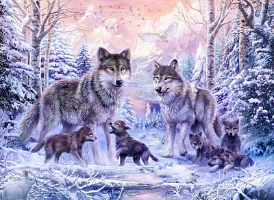 Wolves Digital Art - Winter Wolf Family  by Jan Patrik Krasny
